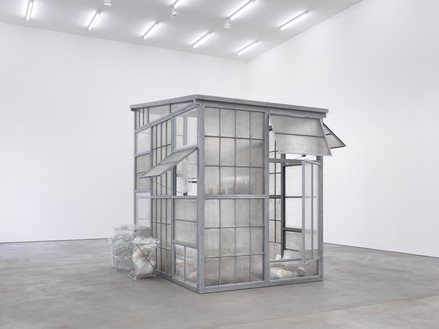 Robert Therrien, No title (transparent room), 2010 Steel, glass, and plastic, 145 × 108 × 156 inches (369.6 × 274.3 × 396.2 cm)© Robert Therrien/Artists Rights Society (ARS), New York