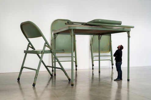 Robert Therrien, No title (folding table and chairs, green), 2008 Paint, metal, and fabric, overall dimensions variable© Robert Therrien/Artists Rights Society (ARS), New York