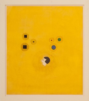 Robert Therrien, No title (Joyce on yellow, 2009 Ink, dye and tempera on paper, 36 ¾ × 31 ¾ inches (93.3 × 80.6 cm)© Robert Therrien