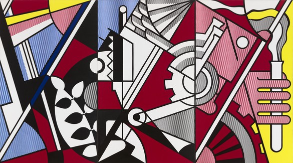 Roy Lichtenstein, Peace through Chemistry, 1970 Oil and Magna on canvas, 100 × 180 inches (254 × 457.2 cm)© Estate of Roy Lichtenstein