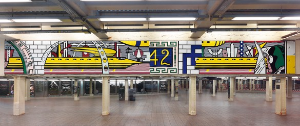 Roy Lichtenstein, Times Square Mural, 1990 (fabricated 1994, installed 2002) Porcelain enamel on steel, in 16 parts, overall: 73 inches × 53 feet (185.4 cm × 16.2 m), NYCT Times Square–42nd Street Station, commissioned by Metropolitan Transportation Authority Arts & Design© Estate of Roy Lichtenstein