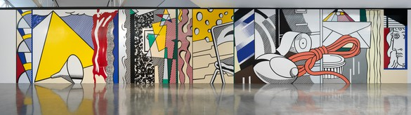 Roy Lichtenstein, replica of Greene Street Mural, 1983 (destroyed) Magna, printed paper, and tape on wall, 18 feet × 95 feet 8 inches (5.5 × 29.2 m), installed at Gagosian, West 24th Street, New York, September 10–October 17, 2015© Estate of Roy Lichtenstein