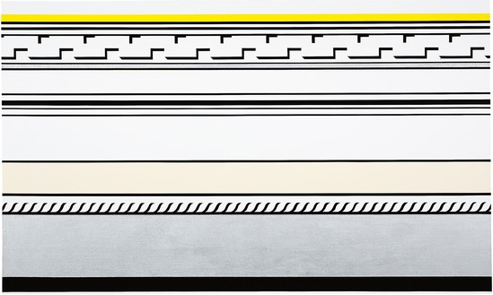 Roy Lichtenstein, Entablature, 1974 Magna, sand, Magna medium, and aluminum powder on canvas, 60 × 100 inches (152.4 × 254 cm)© Estate of Roy Lichtenstein