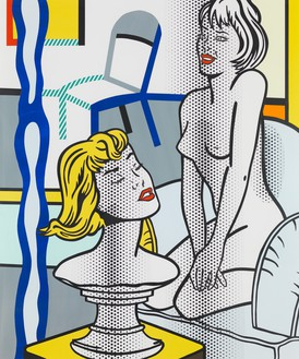 Roy Lichtenstein, Nude with Bust (Study), 1995 Tape, marker, and painted and printed paper on board, 53 ⅞ × 44 ⅞ inches (136.8 × 114 cm)© Estate of Roy Lichtenstein
