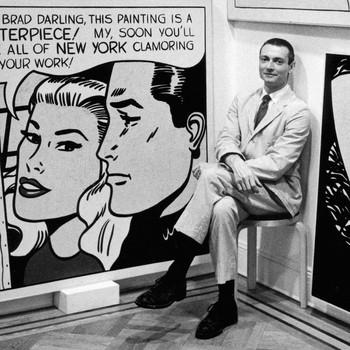 A portrait photograph of Roy Lichtenstein
