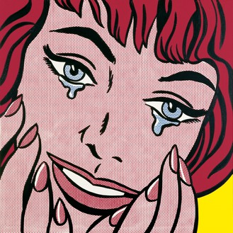 Roy Lichtenstein, Happy Tears, 1964 Oil and Magna on canvas, 38 × 38 inches (97 × 97 cm)© Estate of Roy Lichtenstein