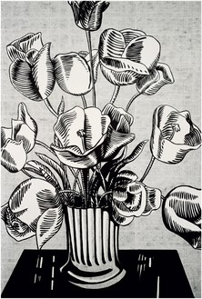 Roy Lichtenstein, Black Flowers, 1961 Oil on canvas, 70 × 48 inches (177.8 × 121.9 cm)© Estate of Roy Lichtenstein