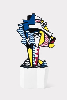 Roy Lichtenstein, Expressionist Head, 1980 Painted and patinated bronze with painted wooden base, 55 × 41 × 18 inches (139.7 × 104.1 × 45.7 cm), edition of 6© Estate of Roy Lichtenstein