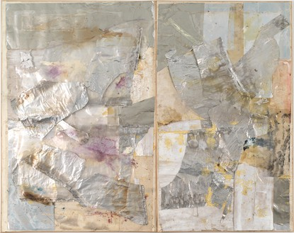 Rudolf Polanszky, Reconstructions / Drifting and Sliding Pictures, 2013 Aluminum, mirrored foil, fiberglass, resin, and acrylic on linen, in 2 parts, in artist's frames, overall: 118 × 149 ½ × 5 ¼ inches (299.7 × 379.7 × 13.3 cm)© Rudolf Polanszky