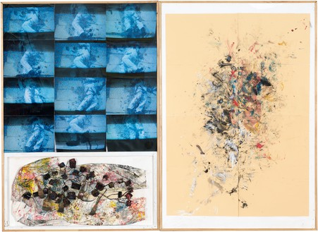 Rudolf Polanszky, Coma (White), 1983 Left panel: oil paint, photographs, clothing, brushes, sponges, and iron wire on wood, in artist's frame; right panel: acrylic and pencil on paper, in artist's frame; overall: 87 ½ × 120 inches (222.3 × 304.8 cm)© Rudolf Polanszky