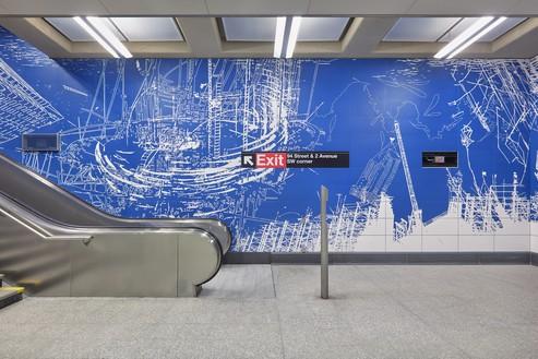 Sarah Sze, Blueprint for a Landscape, 2017 Porcelain tile, 13,000 square feet, 96th Street New York City Subway station, commissioned by MTA Arts & Design and New York City Transit© Sarah Sze