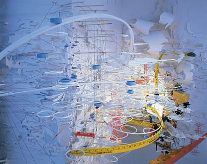 Sarah Sze, Hidden Relief, 2001 Mixed media, 168 × 60 × 12 inches (426.7 × 152.4 × 30.5 cm)Installation view, Asia Society, New York, 2001–04© Sarah Sze