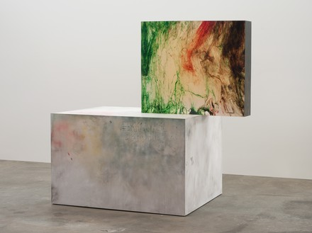 Sterling Ruby, ACTS/KKDETHZ, 2009 Clear urethane block, dye, wood, spray paint, and formica, in 2 parts, overall: 60 ½ × 62 ½ × 34 inches (153.7 × 158.8 × 86.4 cm)© Sterling Ruby