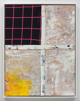 Sterling Ruby, HOT FLAT LIGHT, 2017 Acrylic, oil, elastic, and cardboard on canvas, framed: 59 × 45 ½ inches (149.9 × 115.6 cm)© Sterling Ruby