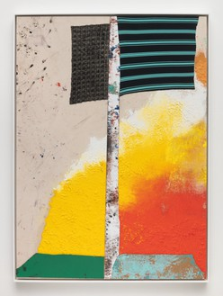 Sterling Ruby, WIDW. HELIOS (7058)., 2019 Acrylic, oil, elastic, cardboard, and treated fabric on canvas, framed: 73 ¾ × 53 ¾ × 3 ¼ inches (187.3 × 136.5 × 8.3 cm)© Sterling Ruby