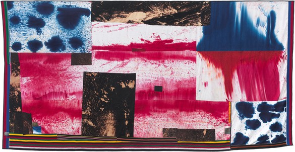 Sterling Ruby, FLAG (4791), 2014 Bleached and dyed canvas, denim, and elastic, 174 ½ × 343 inches (443.2 × 871.2 cm)© Sterling Ruby