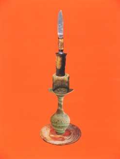 Sterling Ruby, Balanced Stack of Pottery and Knife, 2005 Collage on paper, 28 × 22 ½ inches (71.1 × 57.2 cm)© Sterling Ruby