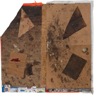 Sterling Ruby, EXHM (3916), 2012 Collage, paint, and urethane on cardboard, 98 × 97 inches (248.9 × 246.4 cm)© Sterling Ruby