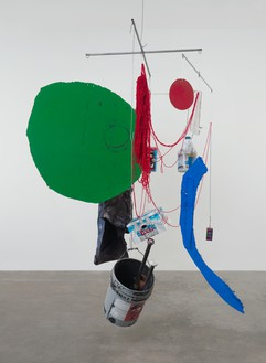 Sterling Ruby, SCALE (4586), 2013 Steel, paint, cardboard, yarn, and mixed media, 97 × 75 × 70 inches (246.4 × 190.5 × 177.8 cm)© Sterling Ruby