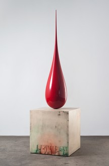 Sterling Ruby, SCXV3ST/BD, 2012 Fiberglass, wood, spray paint, and formica, in 2 parts, drop: 84 × 19 × 19 inches (213.4 × 48.3 × 48.3 cm), pedestal: 36 × 34 × 34 inches (91.4 × 86.4 × 86.4 cm)© Sterling Ruby