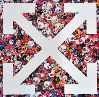 Takashi Murakami and Virgil Abloh, Our Spot 1, 2018 Acrylic on canvas mounted on aluminum frame, 39 ⅜ × 39 ⅜ × 2 inches (100 × 100 × 5 cm)©︎ Virgil Abloh and ©︎ Takashi Murakami