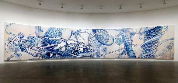 Takashi Murakami, Dragon In Clouds - Indigo Blue, 2010 Acrylic on canvas mounted on board, 143 × 708 ⅝ inches (363.2 × 1800 cm)© Takashi Murakami/Kaikai Kiki Co., Ltd. All rights reserved