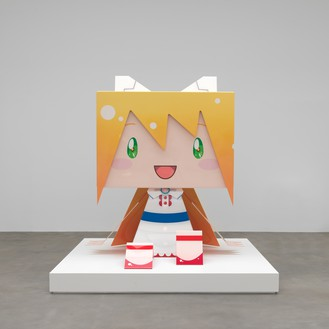 Takashi Murakami, Big Box PKo2 (Sculpture based on papercraft illustration by Sanpati, design by NC Empire, full scale sculpture by Lucky-Wide Co., Ltd.), 2011 Carbon fiber and acrylic, height: 84 ⅝ inches (215 cm)© Takashi Murakami/Kaikai Kiki Co., Ltd. All rights reserved