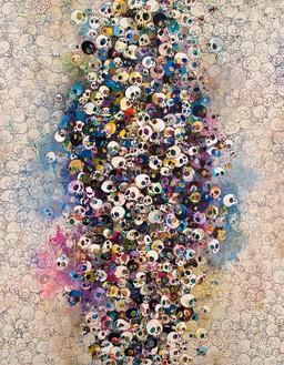 Takashi Murakami, Who's Afraid of Red, Yellow, Blue and Death, 2010 Acrylic on canvas on aluminum frame, 118 × 92 ½ inches (299.7 × 235 cm)© Takashi Murakami/Kaikai Kiki Co., Ltd. All rights reserved