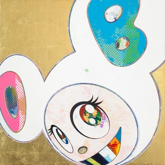 Takashi Murakami, And Then x 6 (Gold & White: The Superflat Method), 2012 Acrylic and gold leaf on canvas mounted on board, 39 ⅜ × 39 ⅜ inches (100 × 100 cm)© Takashi Murakami/Kaikai Kiki Co., Ltd. All rights reserved