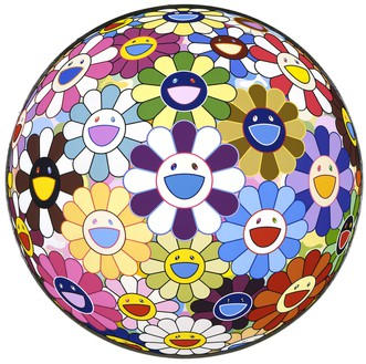 Takashi Murakami, Flower Ball (3-D), Kindergarten, 2007 Acrylic and silver gold leaf on canvas mounted on board, 39 ½ × 39 ½ inches (100.3 × 100.3 cm)© Takashi Murakami/Kaikai Kiki Co., Ltd. All rights reserved