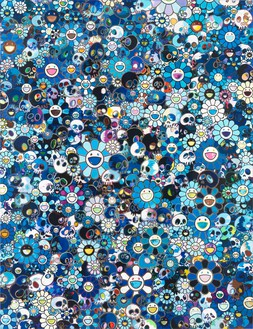 Takashi Murakami, Blue Flowers & Skulls, 2012 Acrylic on canvas mounted panel, 78 ¾ × 60 ¼ inches (200 × 153 cm)© Takashi Murakami/Kaikai Kiki Co., Ltd. All rights reserved