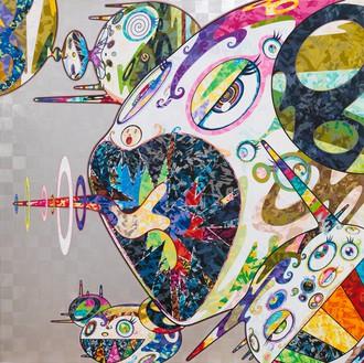 Takashi Murakami, Homage to Francis Bacon (Study of Isabel Rawsthorne), 2017 Acrylic and platinum leaf on canvas mounted on aluminum frame, 47 ¼ × 47 ¼ inches (120 × 120 cm)© Takashi Murakami/Kaikai Kiki Co., Ltd. All rights reserved
