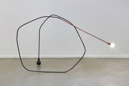 Tatiana Trouvé, I tempi doppi, 2013 Copper-plated metal, paint, bronze, patina, and light bulb, 42 ⅛ × 71 ⅝ × 27 ⅝ inches (107 × 182 × 70 cm)© Tatiana Trouvé. Photo: Laurent Edeline
