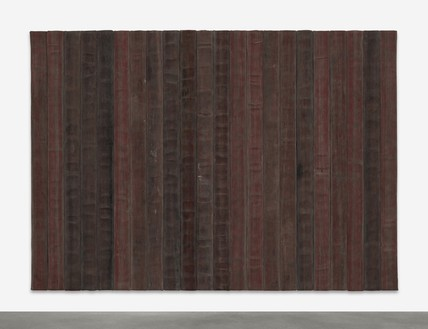 Theaster Gates, A Flag for the Least of Them, 2018 Decommissioned fire hoses, 59 ⅞ × 84 ⅝ inches (152 × 215 cm)© Theaster Gates