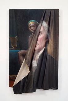 Titus Kaphar, Behind the Myth of Benevolence, 2014 Oil on canvas, 59 × 34 × 7 inches (149.9 × 86.4 × 17.8 cm)© Titus Kaphar