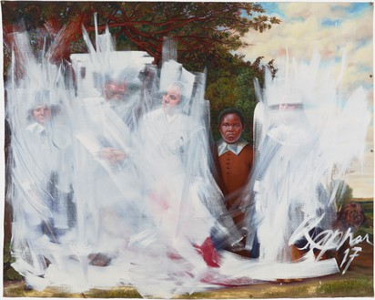 Titus Kaphar, Shifting the Gaze, 2017 Oil on canvas, 84 × 108 inches (213.4 × 274.3 cm), Brooklyn Museum, New York© Titus Kaphar. Photo: Christopher Gardener