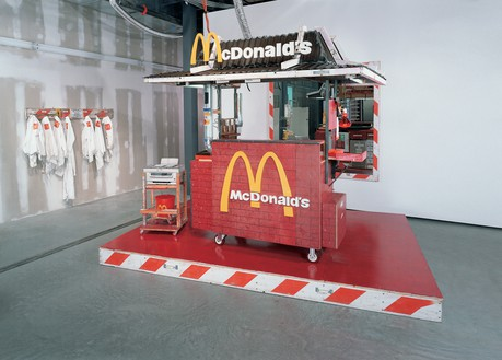 Tom Sachs, Nutsy's McDonald's, 2001 Mixed media, 96 × 74 × 72 inches (243.8 × 188 × 182.9 cm), Astrup Fearnley Museet, Oslo© Tom Sachs. Photo: Tom Powel Imaging Inc.
