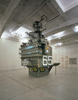 Tom Sachs, The Island, 2006 Mixed media, 11 feet 3 inches × 11 feet 3 inches × 22 feet (3.4 × 3.4 × 6.7 m), Fondazione Prada, Milan© Tom Sachs