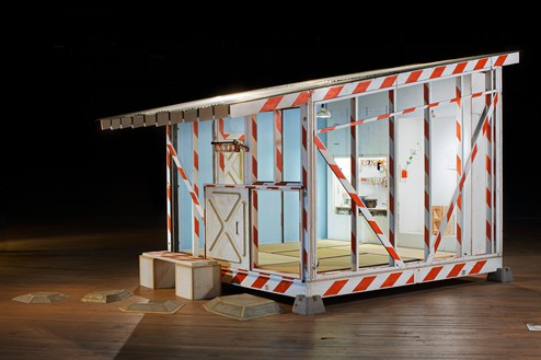 Tom Sachs, Tea House, 2011 ConEd barrier, plywood, extruded polystyrene, corrugated steel, and mixed media, 10 feet 2 ½ inches × 11 feet × 16 feet 10 ¾ inches (3.1 × 3.4 × 5.2 m)© Tom Sachs. Photo: Genevieve Hanson