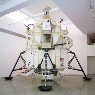 Tom Sachs, Landing Excursion Module (LEM), 2007 Steel, plywood, epoxy resin, and mixed media, 23 feet 1 inch × 21 feet 11 inches × 21 feet 11 inches (7 × 6.7 × 6.7 m)© Tom Sachs. Photo: Josh White