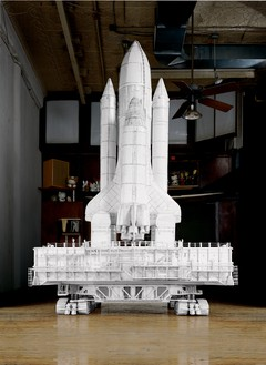 Tom Sachs, Challenger (Crawler), 2003 Foamcore, thermal adhesive, wood, and metal, 118 × 103 × 107 ½ inches (299.7 × 261.6 × 273.1 cm)© Tom Sachs. Photo: Tom Powel Imaging Inc.