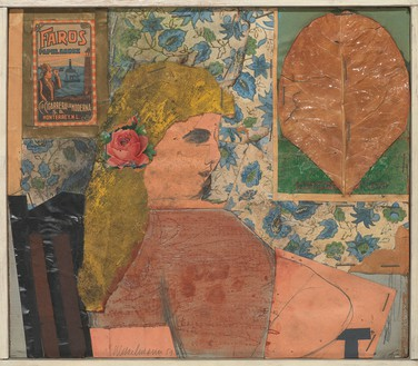 Tom Wesselmann, Portrait Collage #1, 1959 Pencil, pastel, collage, and staples on board, 9 ⅝ × 10 ⅞ inches (24.4 × 27.6 cm)© The Estate of Tom Wesselmann/Licensed by VAGA, New York
