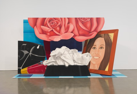 Tom Wesselmann, Still Life #59, 1972 Oil on shaped canvas and acrylic on carpet, in 5 parts, not including carpet, overall: 8 feet 9 ¼ inches × 15 feet 10 ¾ inches × 6 feet 11 inches (267.3 × 484.5 × 210.8 cm)© The Estate of Tom Wesselmann/Licensed by ARS/VAGA, New York