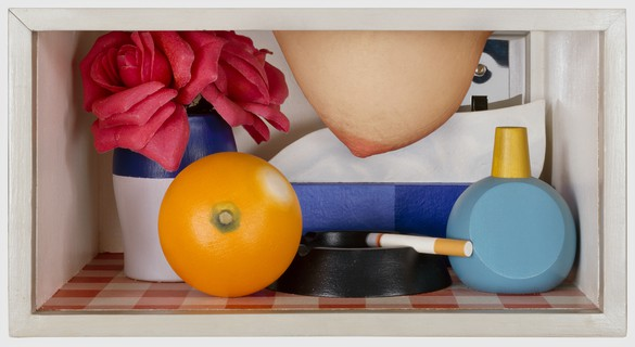 Tom Wesselmann, Bedroom Tit Box, 1968–70 Oil, acrylic, assemblage, and breast of live model, 6 × 12 × 8 ½ inches (15.2 × 30.5 × 21.6 cm)© The Estate of Tom Wesselmann/Licensed by ARS/VAGA, New York