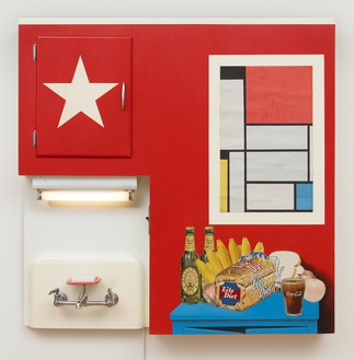 Tom Wesselmann, Still Life #20, 1962 Mixed media, collage, and assemblage (including working light) on board, 47 ¾ × 48 × 10 ½ inches (121.3 × 121.9 × 26.7 cm), Albright-Knox Art Gallery, Buffalo© The Estate of Tom Wesselmann/Licensed by VAGA, New York