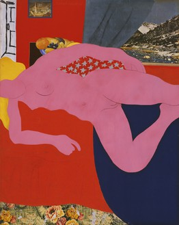 Tom Wesselmann, Great American Nude #2, 1961 Synthetic polymer paint, gesso, charcoal, enamel, oil, and collage on plywood, 59 ⅝ × 47 ½ inches (151.4 × 120.7 cm), Museum of Modern Art, New York© The Estate of Tom Wesselmann/Licensed by VAGA, New York
