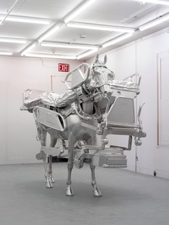 Urs Fischer, Horse/Bed, 2013 Milled aluminum, galvanized steel, screws, bolts, and two-component resin, 85 ⅞ × 103 ⅝ × 43 ¾ inches (218.2 × 263.1 × 111.1 cm), edition of 3© Urs Fischer