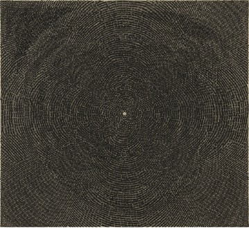 Y. Z. Kami, Black Dome II, 2014 Acrylic on linen, 72 × 79 inches (182.9 × 200.7 cm)© Y.Z. Kami. Photo: Rob McKeever