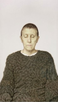 Y. Z. Kami, Untitled (Woman in a Green Sweater), 2006 Oil on linen, 132 × 74 inches (335.3 × 188 cm)© Y.Z. Kami. Photo: Rob McKeever