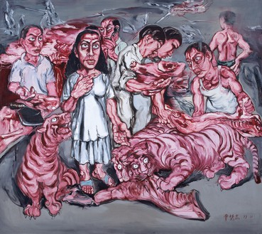 Zeng Fanzhi, Man and Meat, 1993 Oil on canvas, 70 ⅞ × 78 ¾ inches (180 × 200 cm)© Zeng Fanzhi Studio